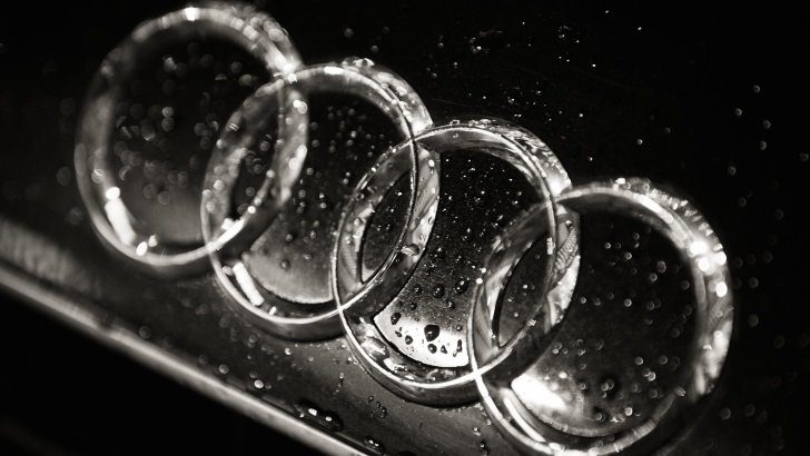 Audi Logo in Black & White Wallpaper