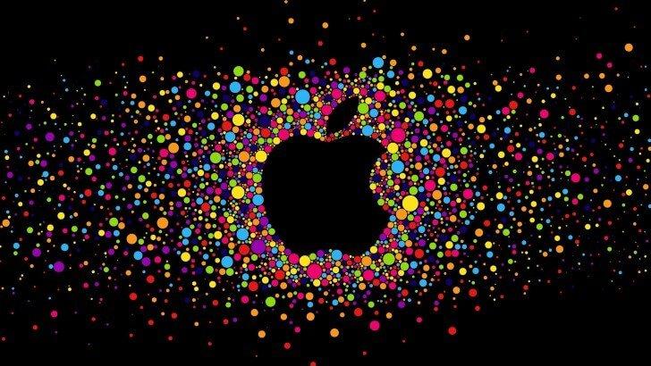 colorful apple logos. Black Apple Logo Particles Wallpaper Colorful Logos