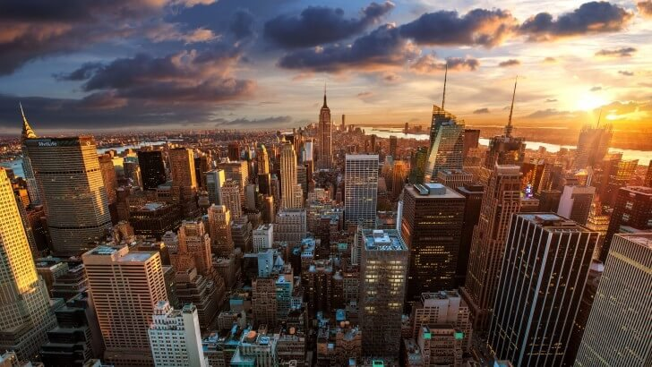 New York City Skyline At Sunset Wallpaper