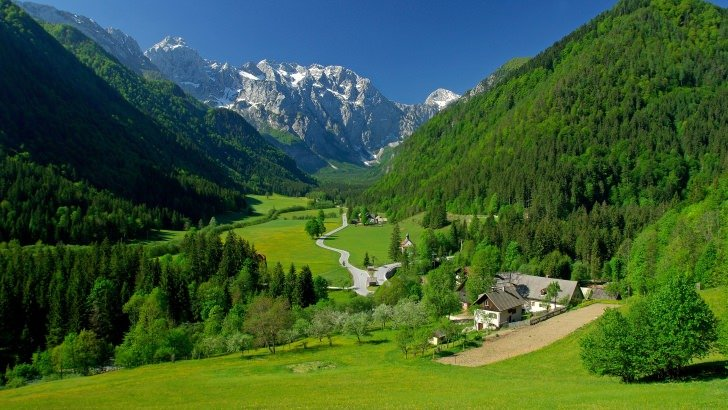 Spring In The Alpine Valley Wallpaper
