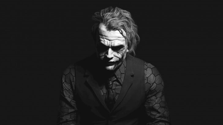 The Joker Black White Portrait Wallpaper