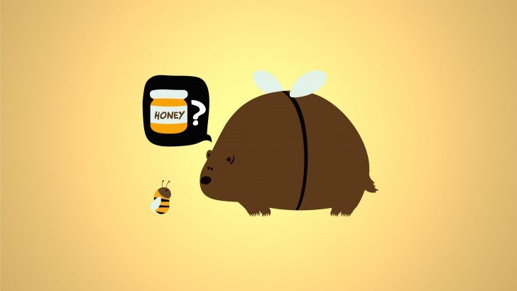 When a Bear Meet a Bee Wallpaper