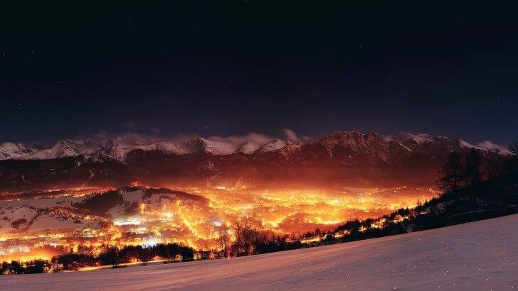 Zakopane City At Night - Poland Wallpaper - World Hd Wallpapers