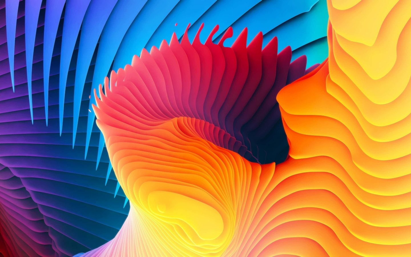 3D Colorful Spiral Wallpaper for Desktop 1440x900