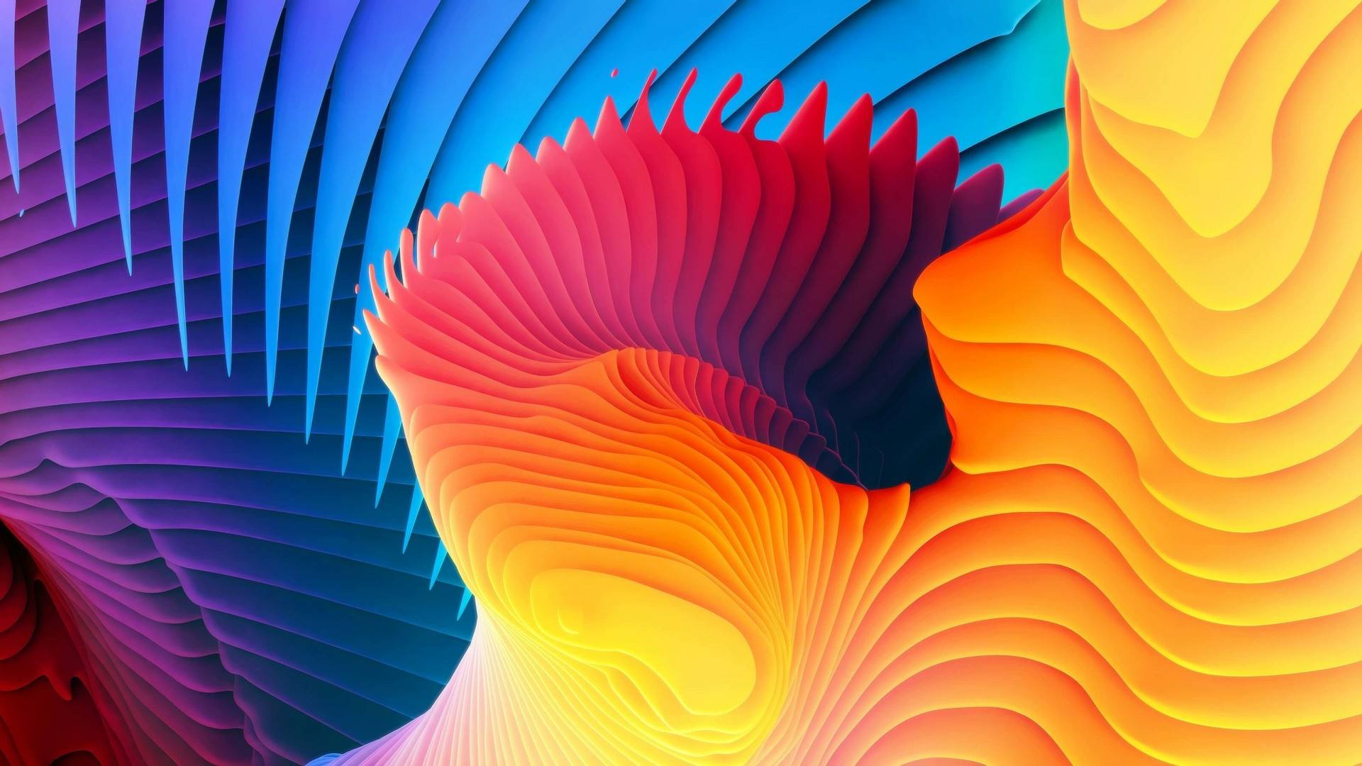 3D Colorful Spiral Wallpaper for Desktop 1920x1080