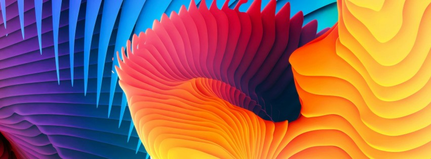 3D Colorful Spiral Wallpaper for Social Media Facebook Cover