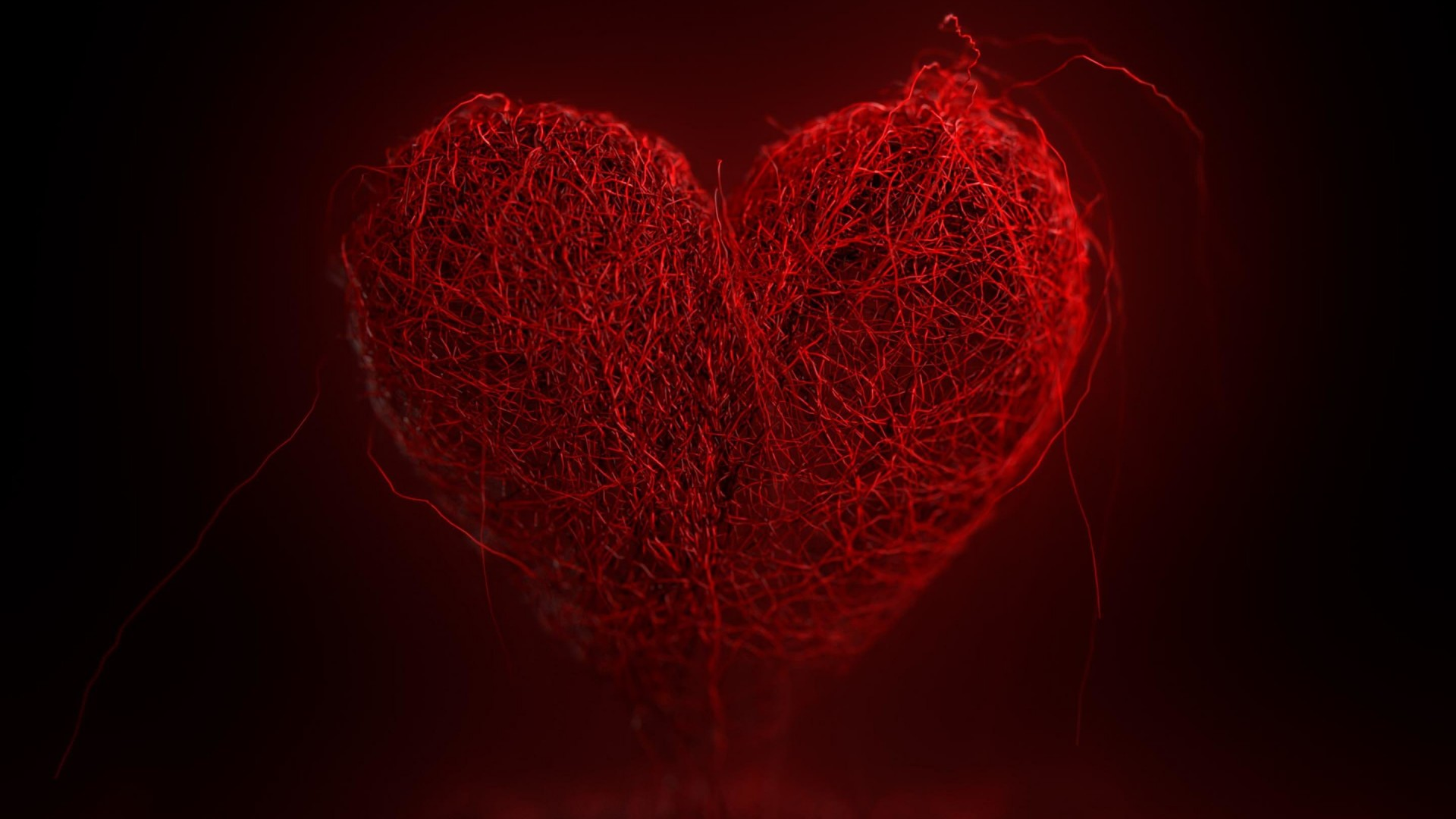 3D String Art Heart Wallpaper for Desktop 1920x1080