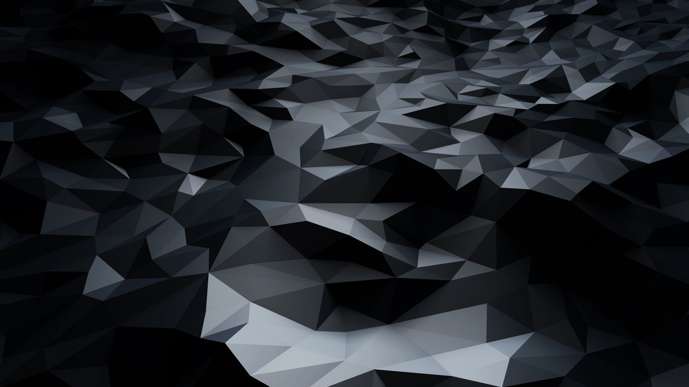 Abstract Black Low Poly Wallpaper for Desktop 1366x768