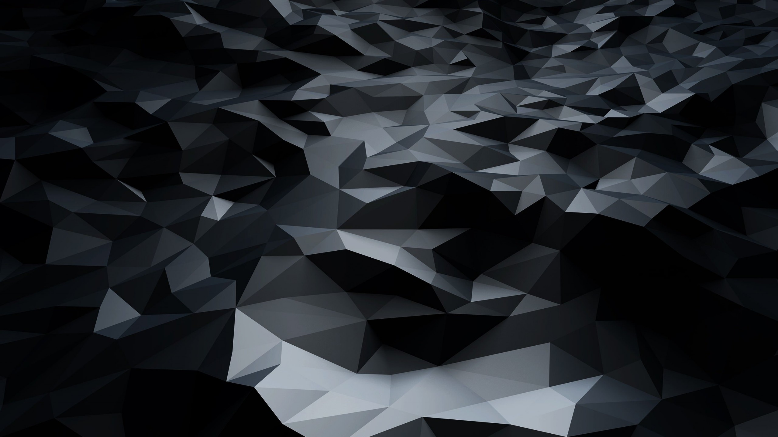 Download Abstract Black Low Poly HD Wallpaper For 2560 X
