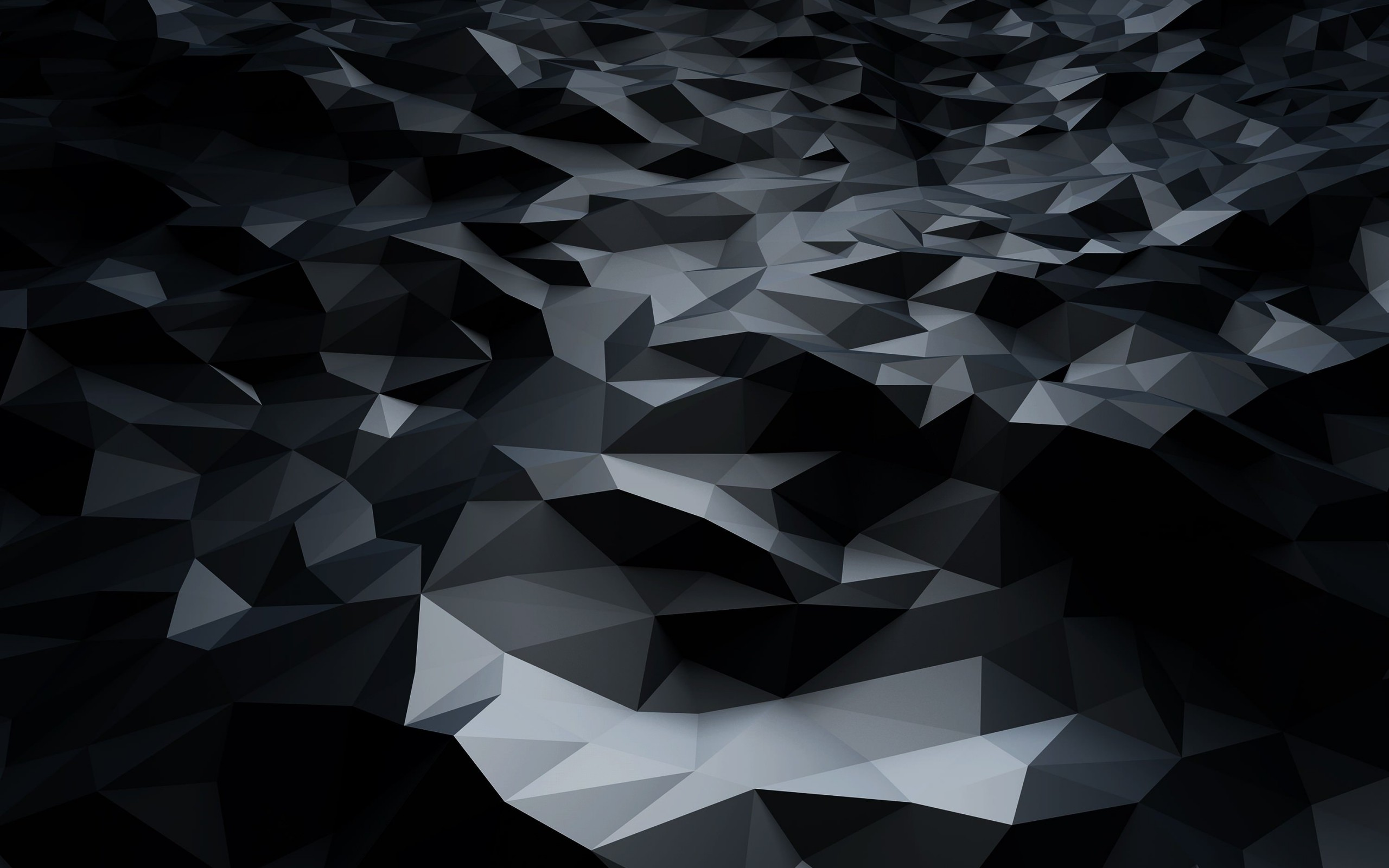 Abstract Black Low Poly Wallpaper for Desktop 2560x1600
