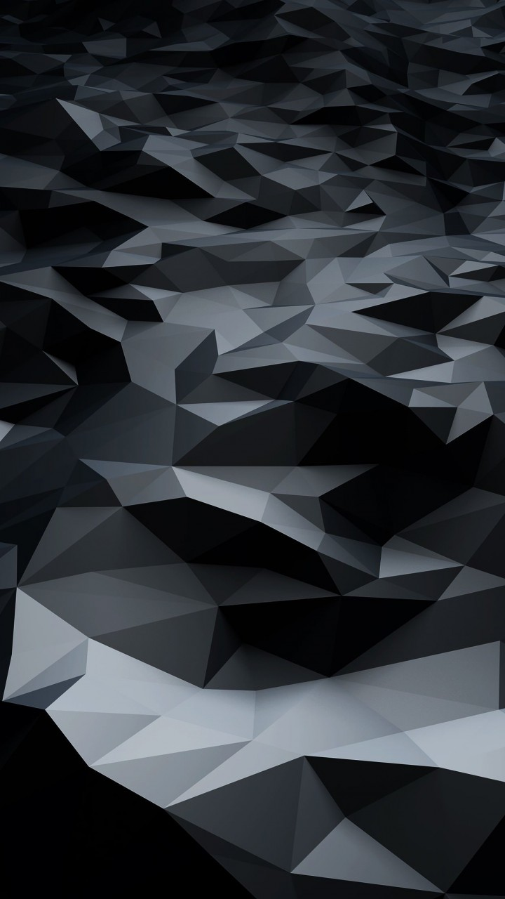 Abstract Black Low Poly Wallpaper for HTC One mini