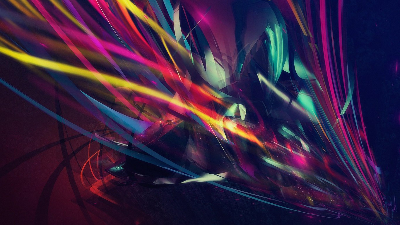Abstract Multi Color Lines Wallpaper for Desktop 1366x768