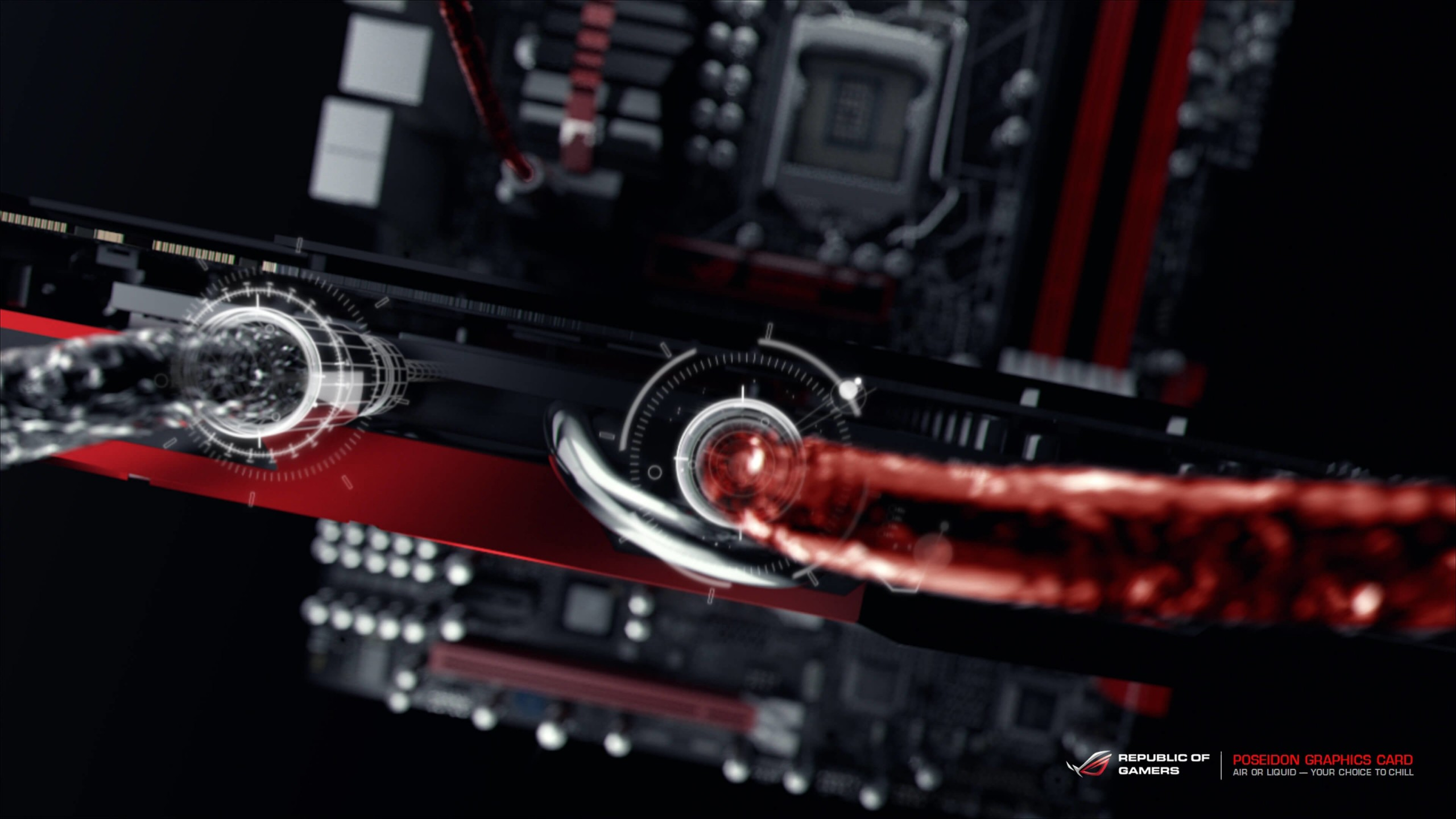 ASUS ROG Poseidon Liquid Cooling Wallpaper for Social Media YouTube Channel Art