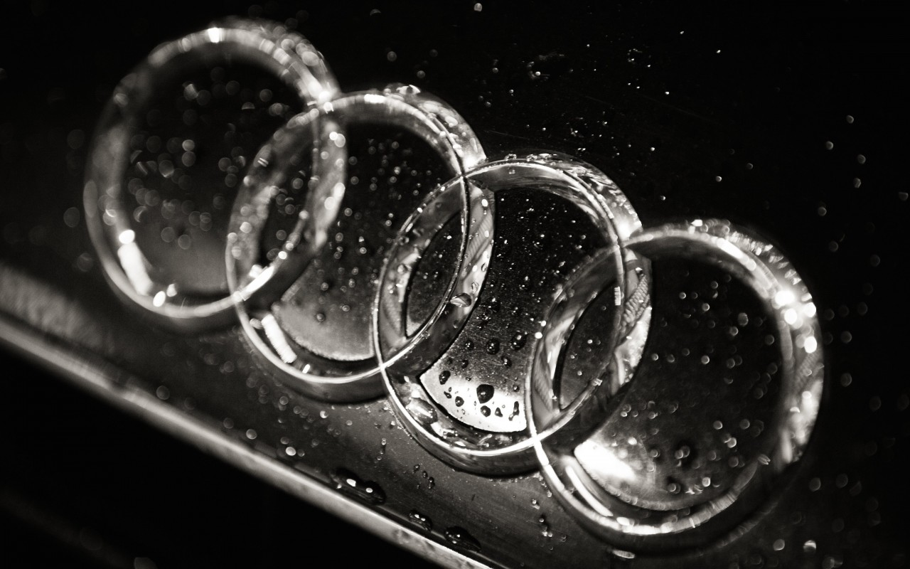 Audi Logo in Black & White Wallpaper for Desktop 1280x800