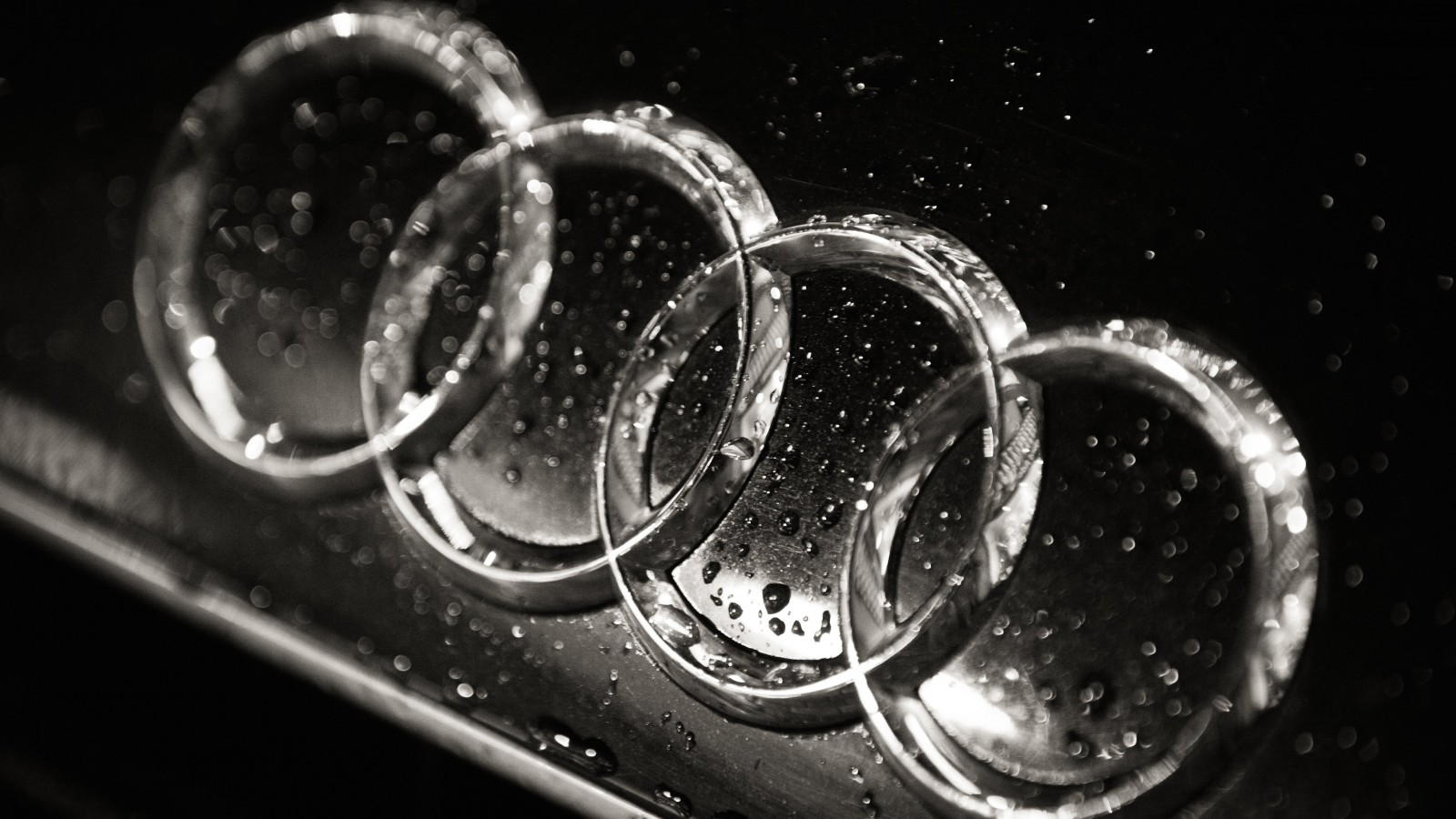 Audi Logo in Black & White Wallpaper for Desktop 1600x900