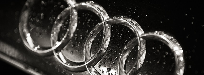Audi Logo in Black & White Wallpaper for Social Media Facebook Cover