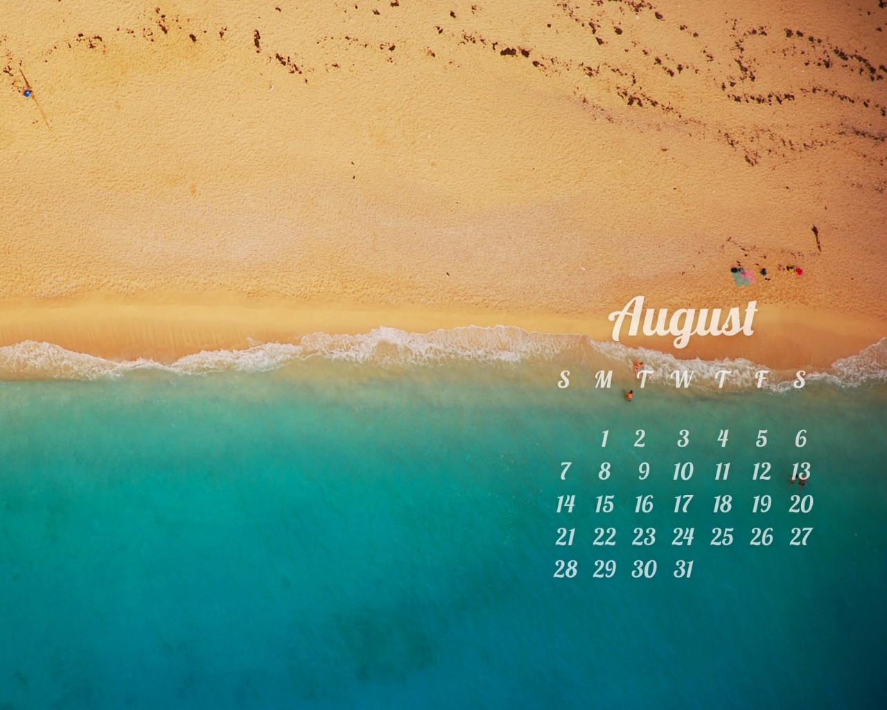 August 2016 Calendar Wallpaper for Desktop 1280x1024