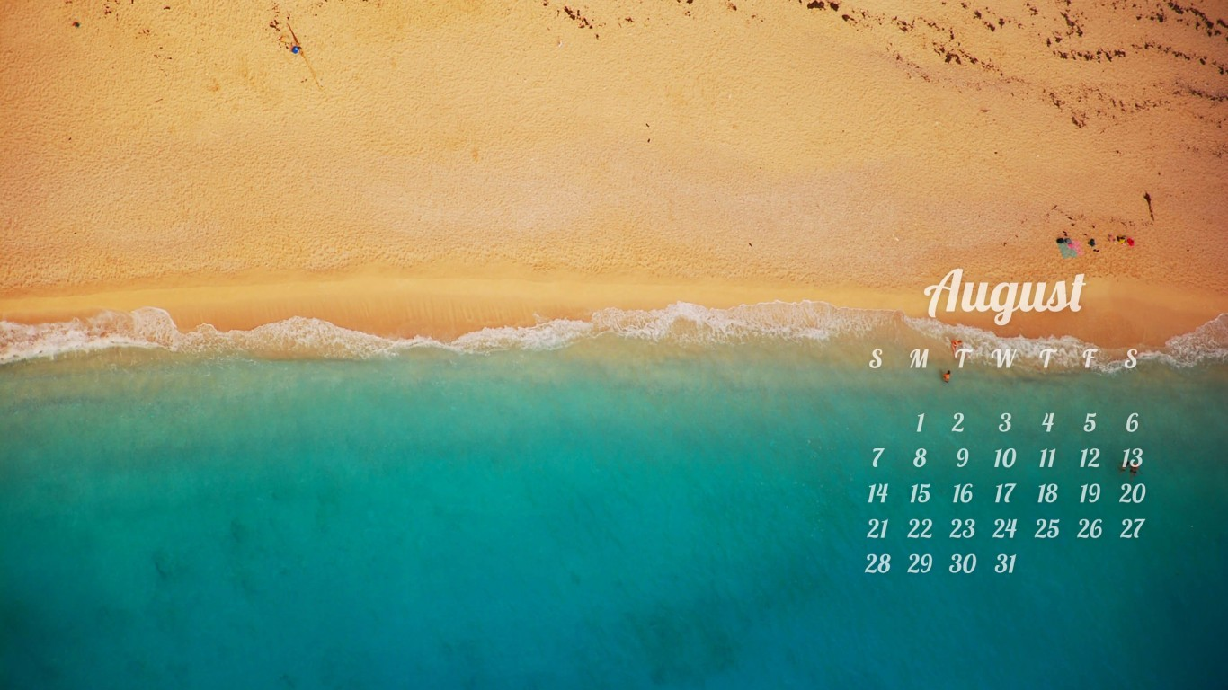 August 2016 Calendar Wallpaper for Desktop 1366x768
