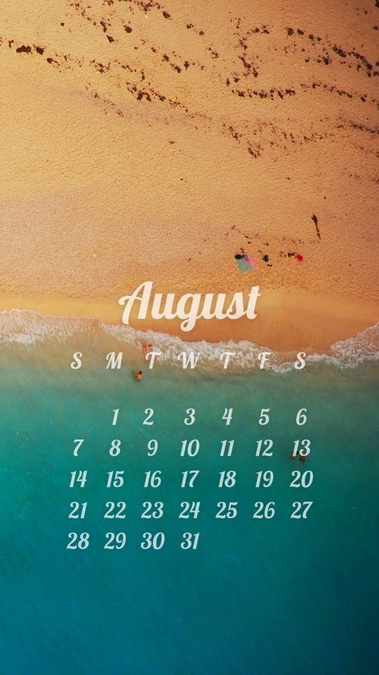August 2016 Calendar Wallpaper for SAMSUNG Galaxy S4 Mini
