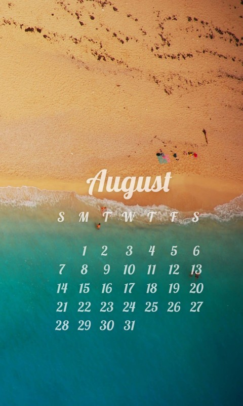August 2016 Calendar Wallpaper for HTC Desire HD