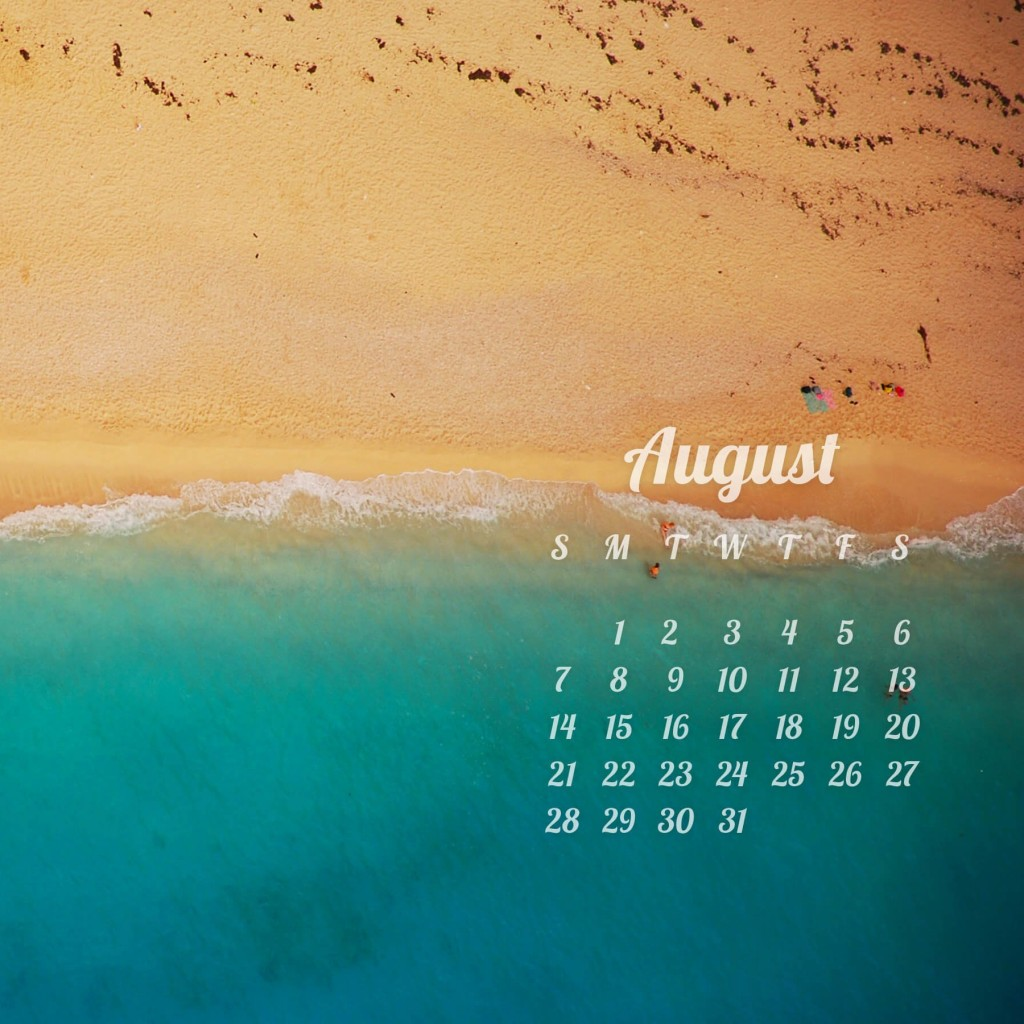 August 2016 Calendar Wallpaper for Apple iPad 2