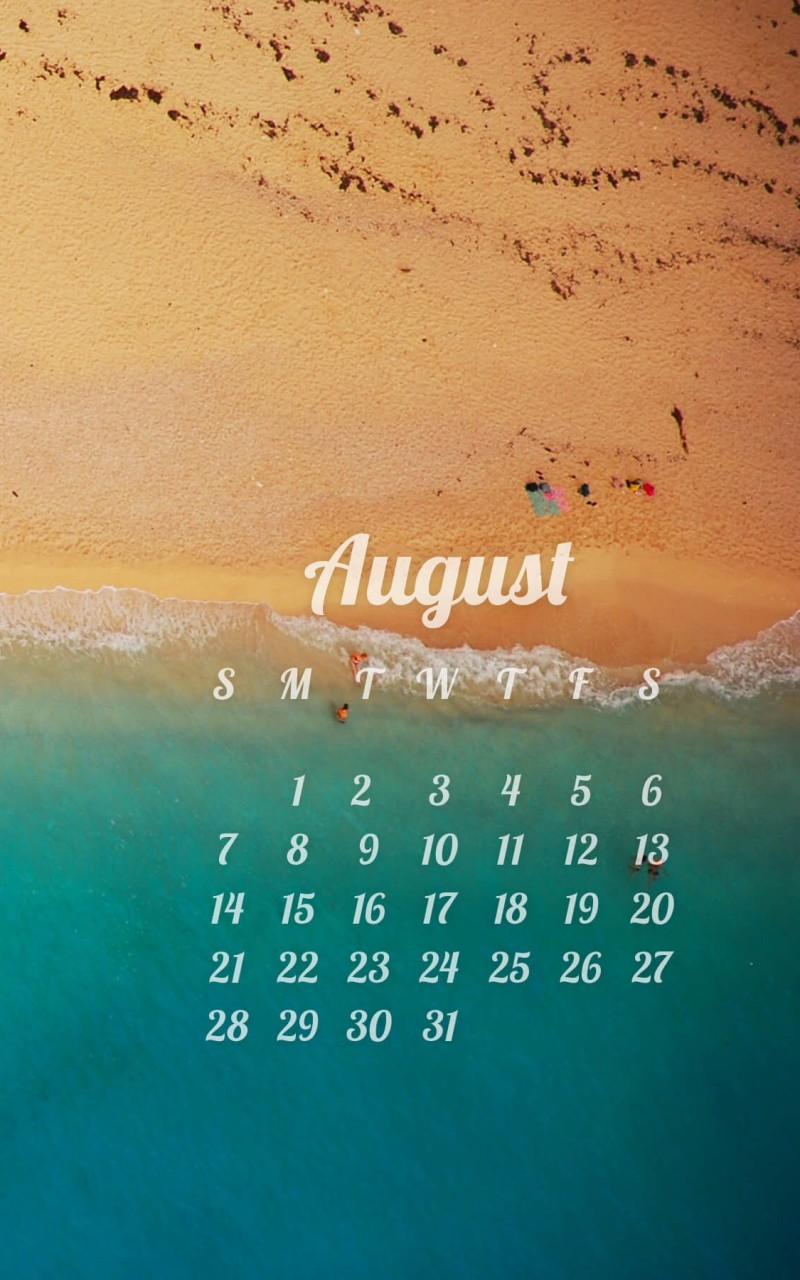 August 2016 Calendar Wallpaper for Amazon Kindle Fire HD