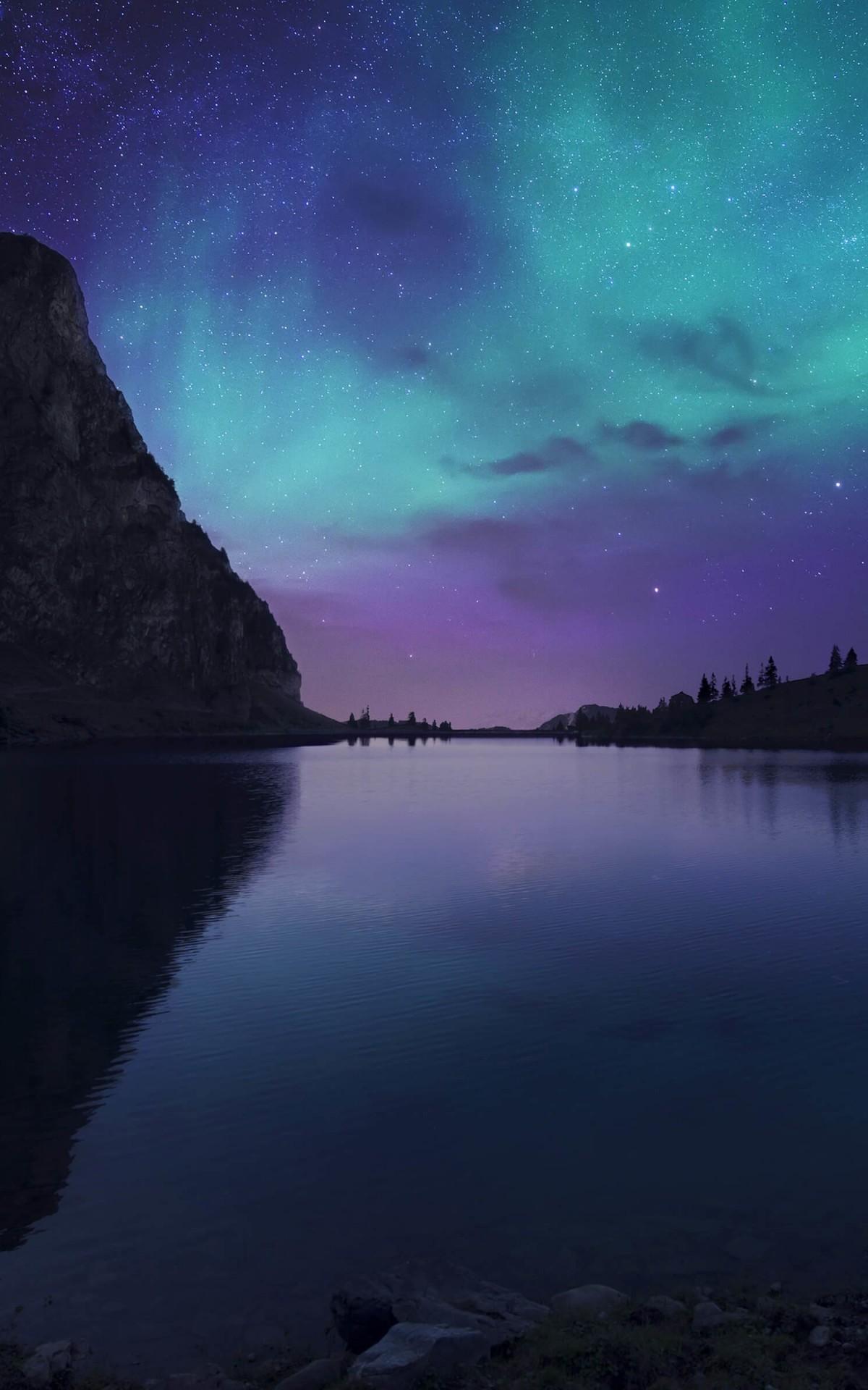 Download Aurora Over Bannalpsee  Switzerland HD wallpaper
