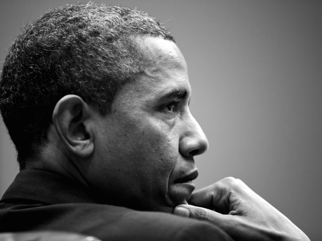 Barack Obama in Black & White Wallpaper for Desktop 1024x768