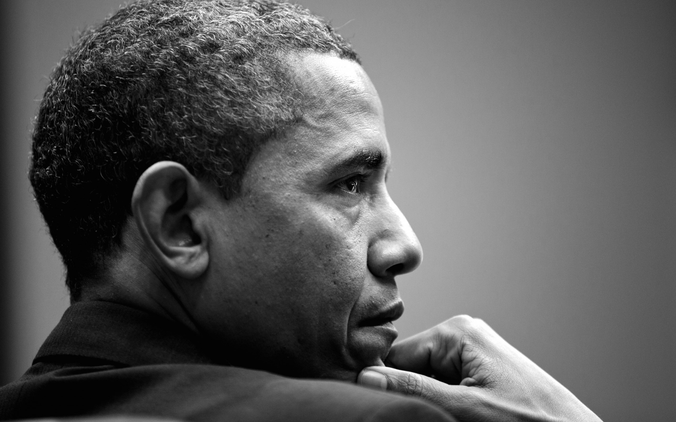 Barack Obama in Black & White Wallpaper for Desktop 2560x1600