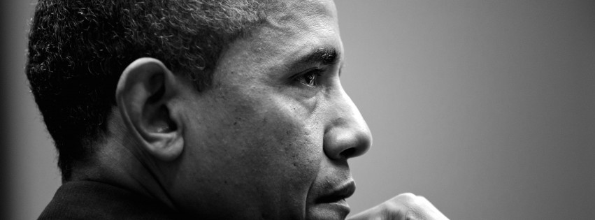 Barack Obama in Black & White Wallpaper for Social Media Facebook Cover