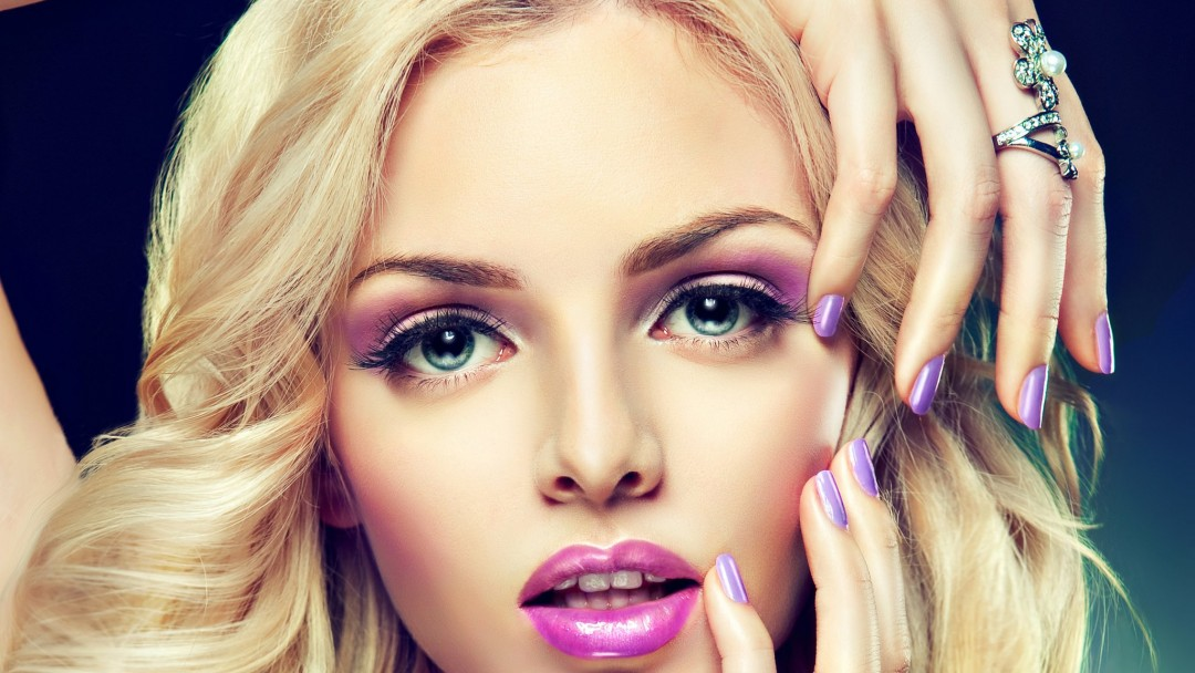 Beautiful Blonde Girl With Lilac Makeup Wallpaper for Social Media Google Plus Cover