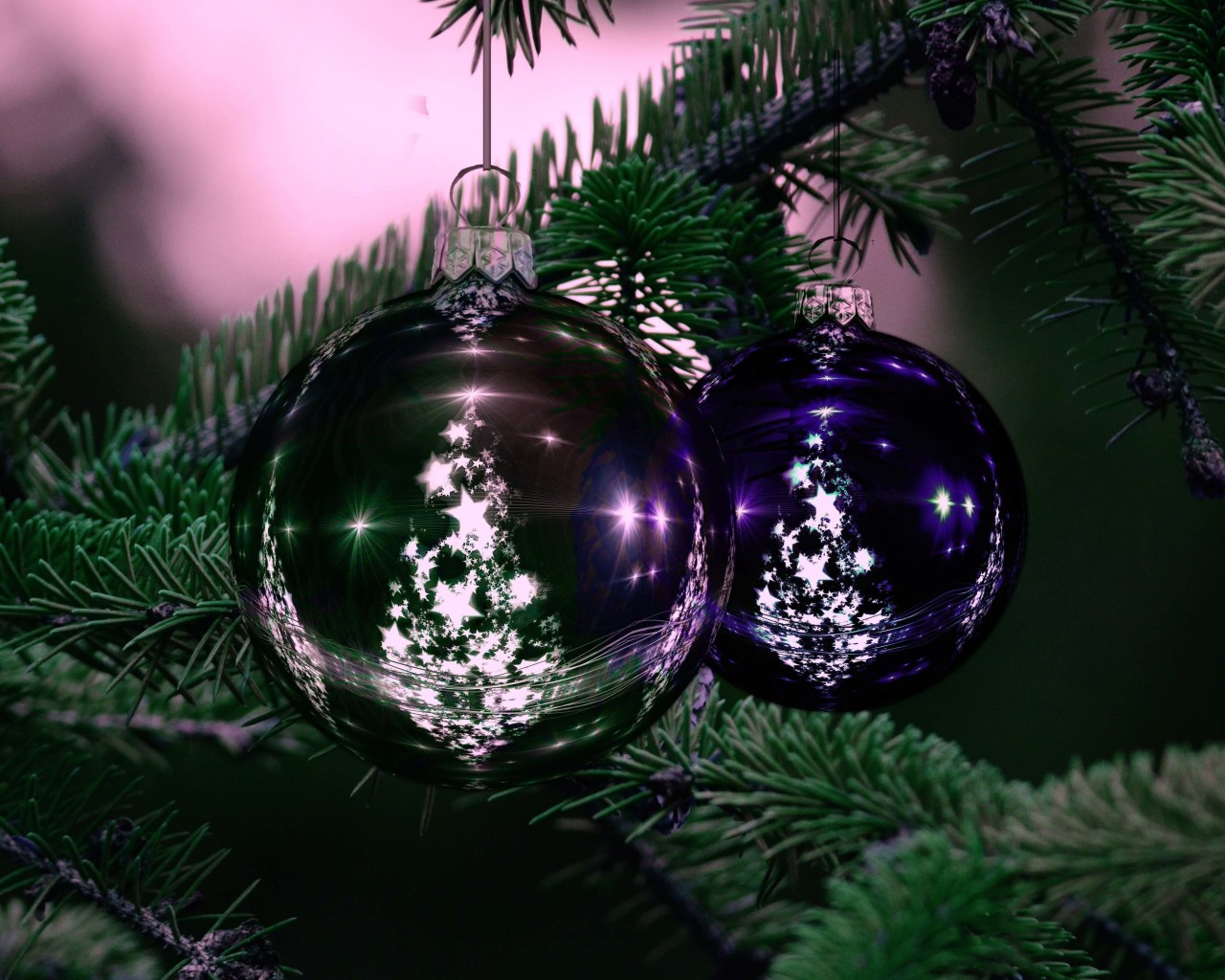 Beautiful Christmas Tree Ornaments Wallpaper for Desktop 1280x1024
