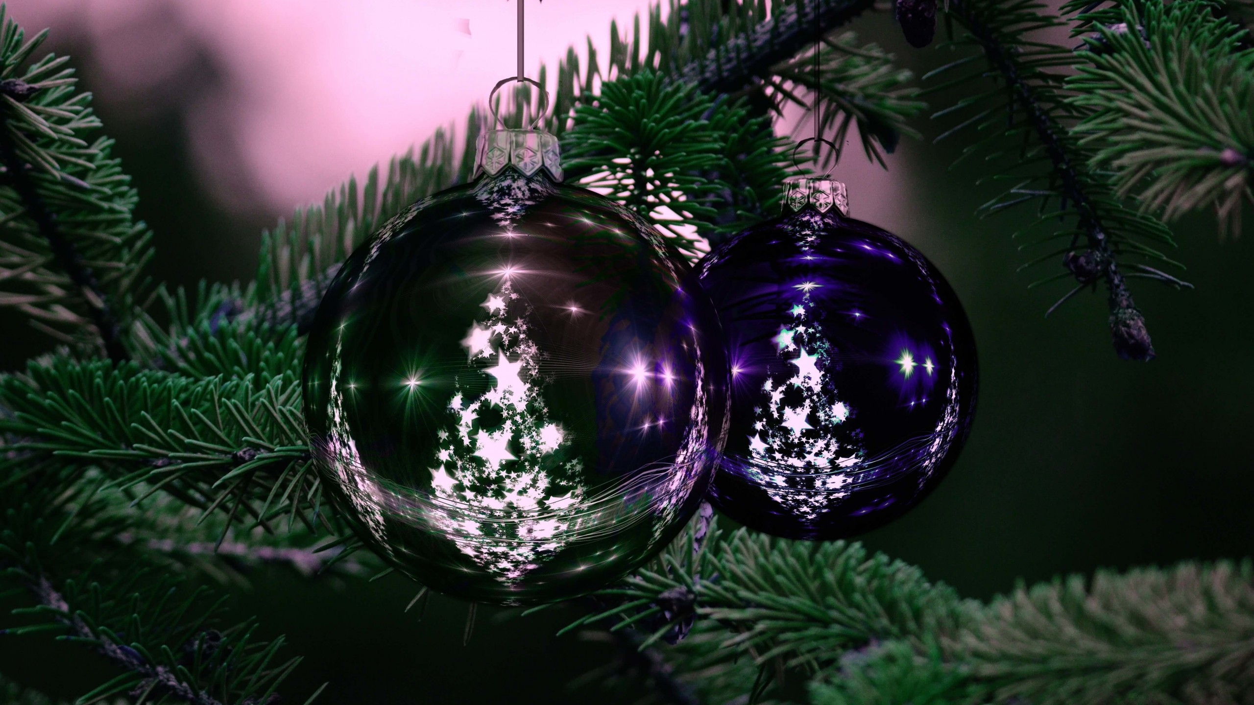 Beautiful Christmas Tree Ornaments Wallpaper for Desktop 2560x1440