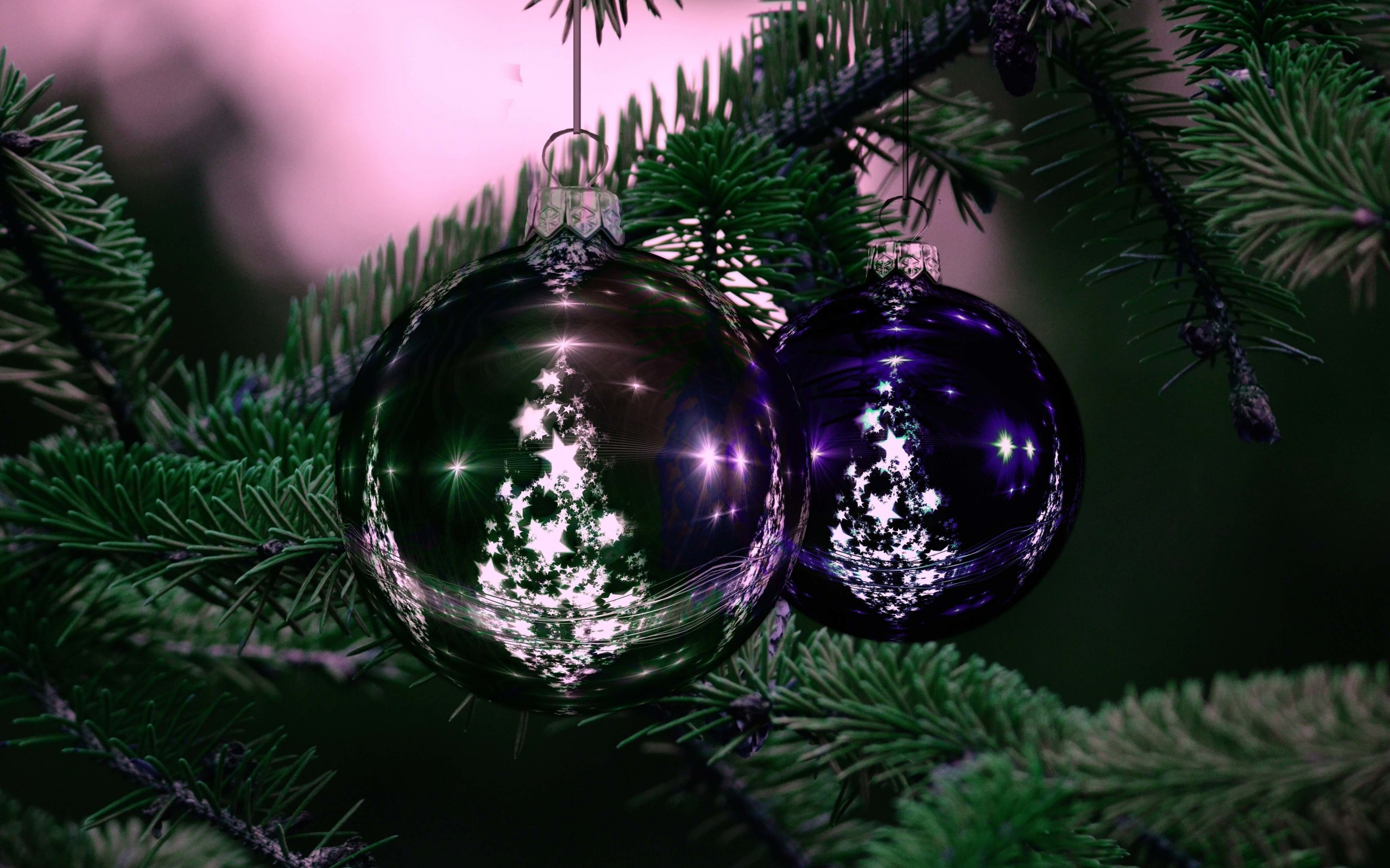 Beautiful Christmas Tree Ornaments Wallpaper for Desktop 2560x1600
