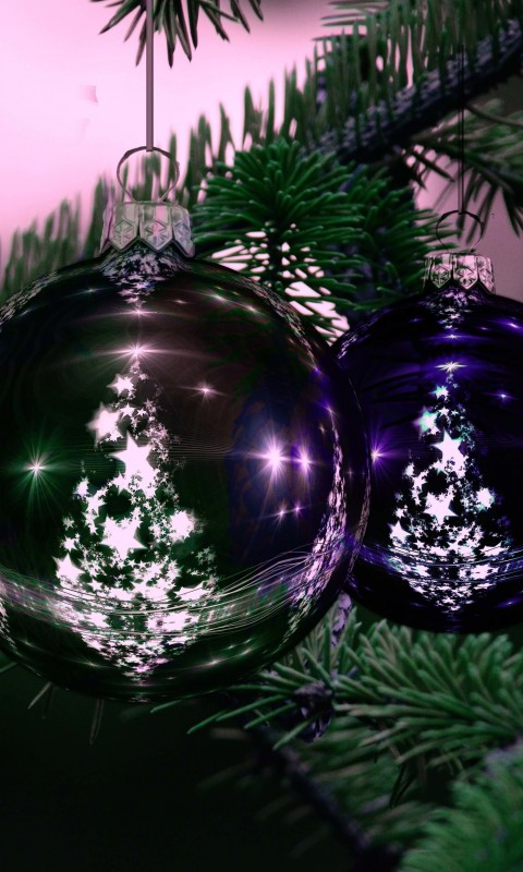 Beautiful Christmas Tree Ornaments Wallpaper for HTC Desire HD