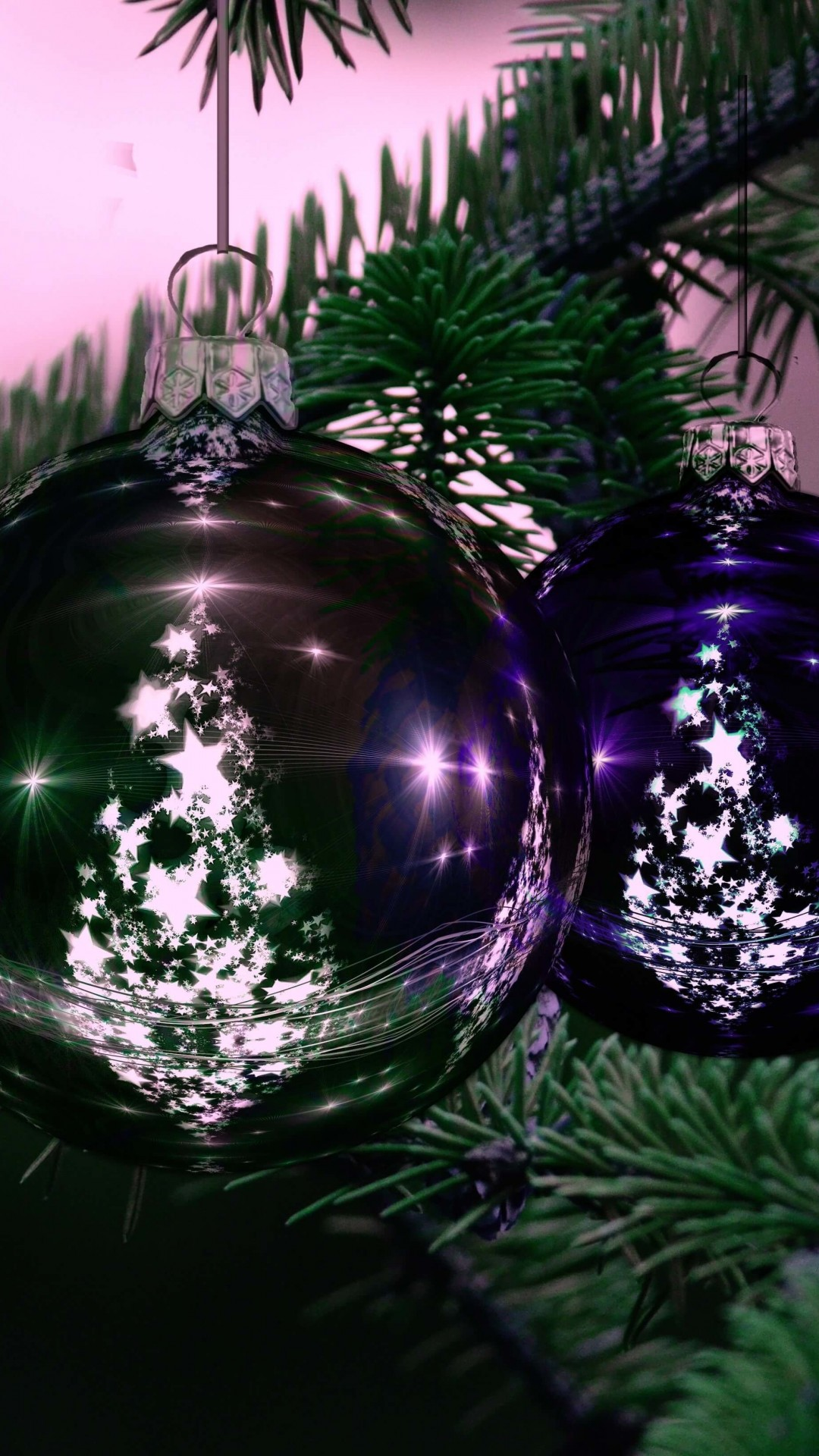 Beautiful Christmas Tree Ornaments Wallpaper for HTC One