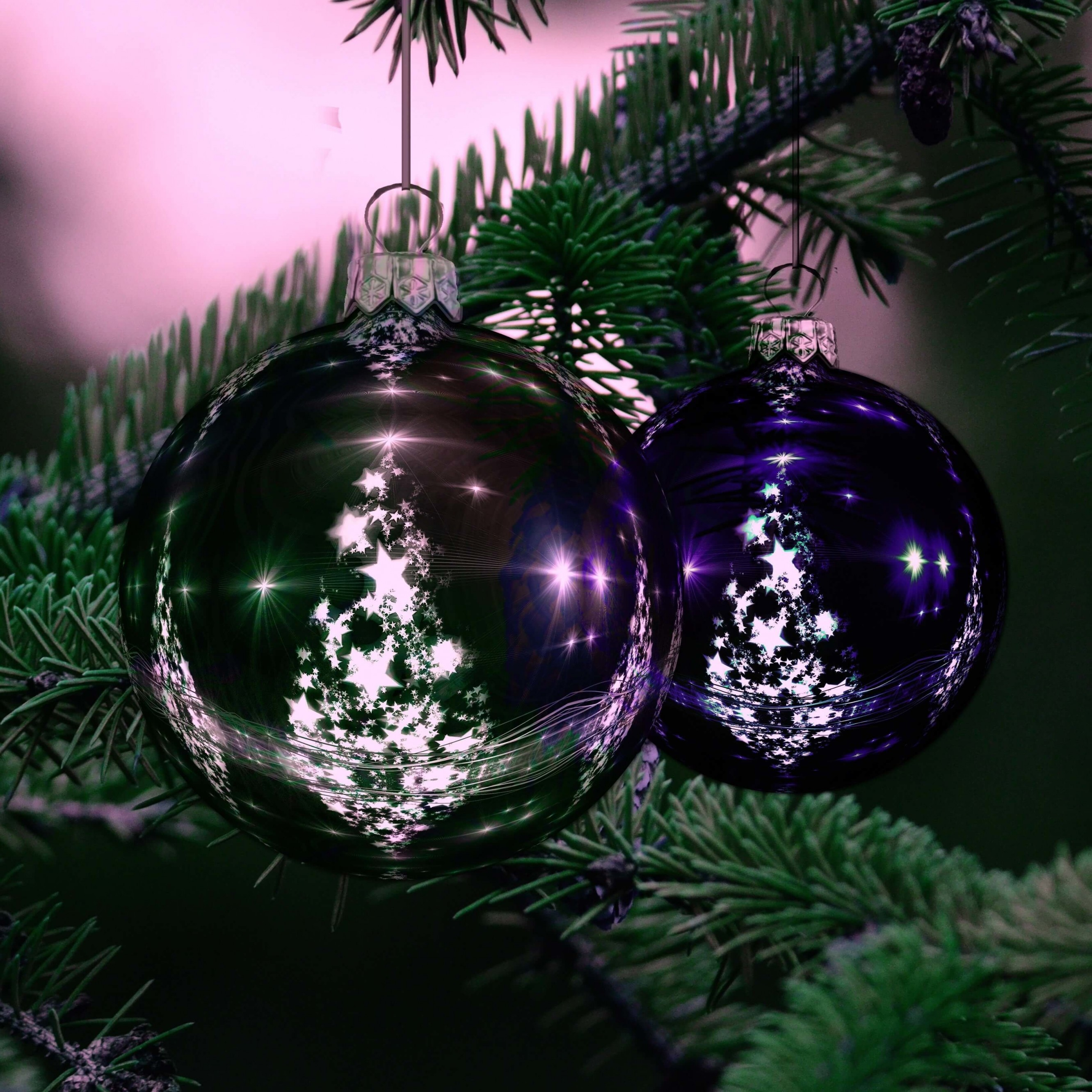 Beautiful Christmas Tree Ornaments Wallpaper for Apple iPhone 6 Plus