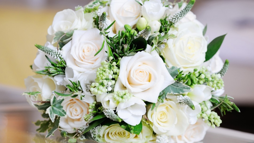 Beautiful White Roses Bouquet Wallpaper for Social Media Google Plus Cover