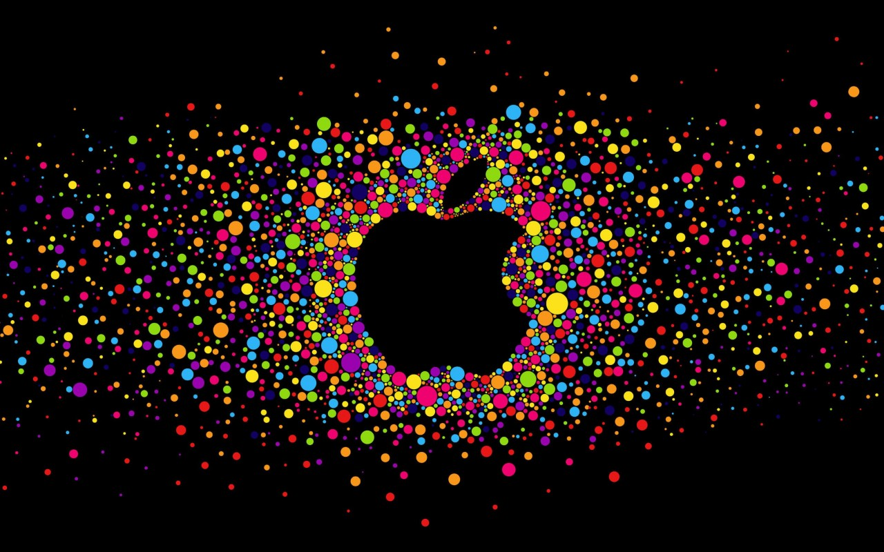 Black Apple Logo Particles Wallpaper for Desktop 1280x800