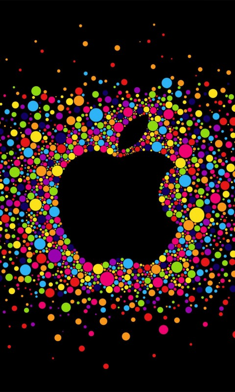 Black Apple Logo Particles Wallpaper for SAMSUNG Galaxy S3 Mini