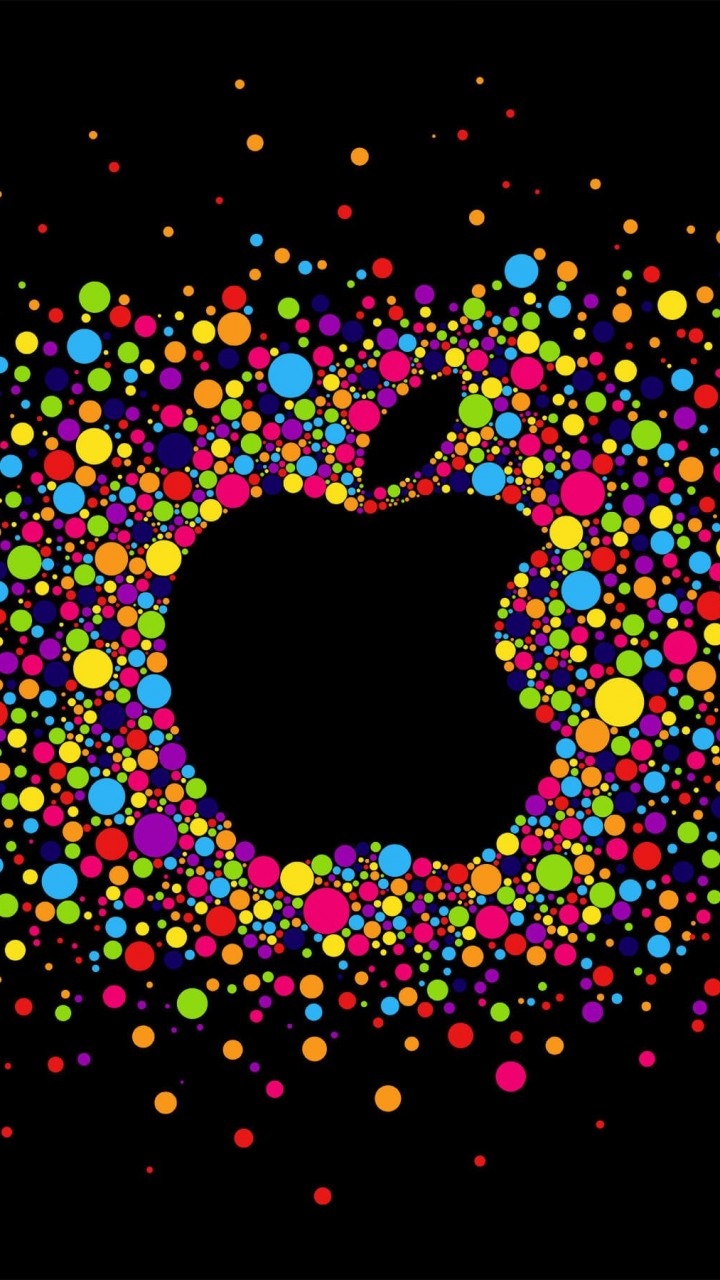 Black Apple Logo Particles Wallpaper for HTC One mini