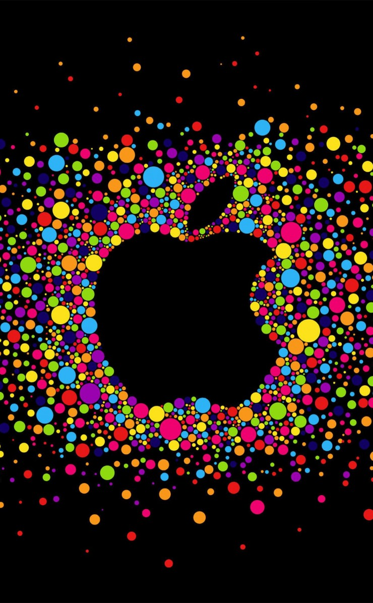 Black Apple Logo Particles Wallpaper for Apple iPhone 4 / 4s