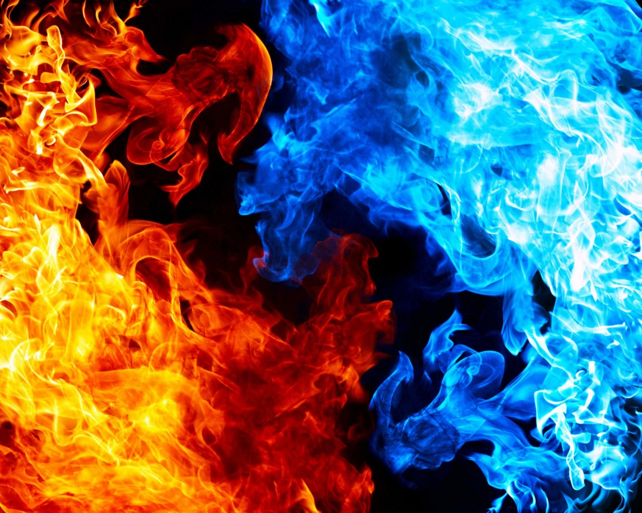 Blue And Red Fire Wallpaper for Desktop 1280x1024