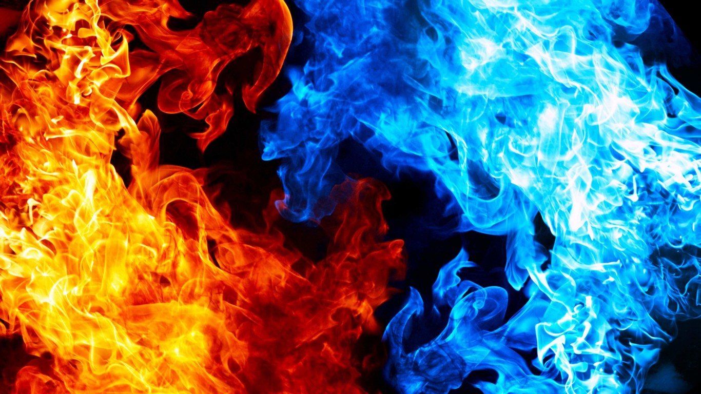 Blue And Red Fire Wallpaper for Desktop 1366x768