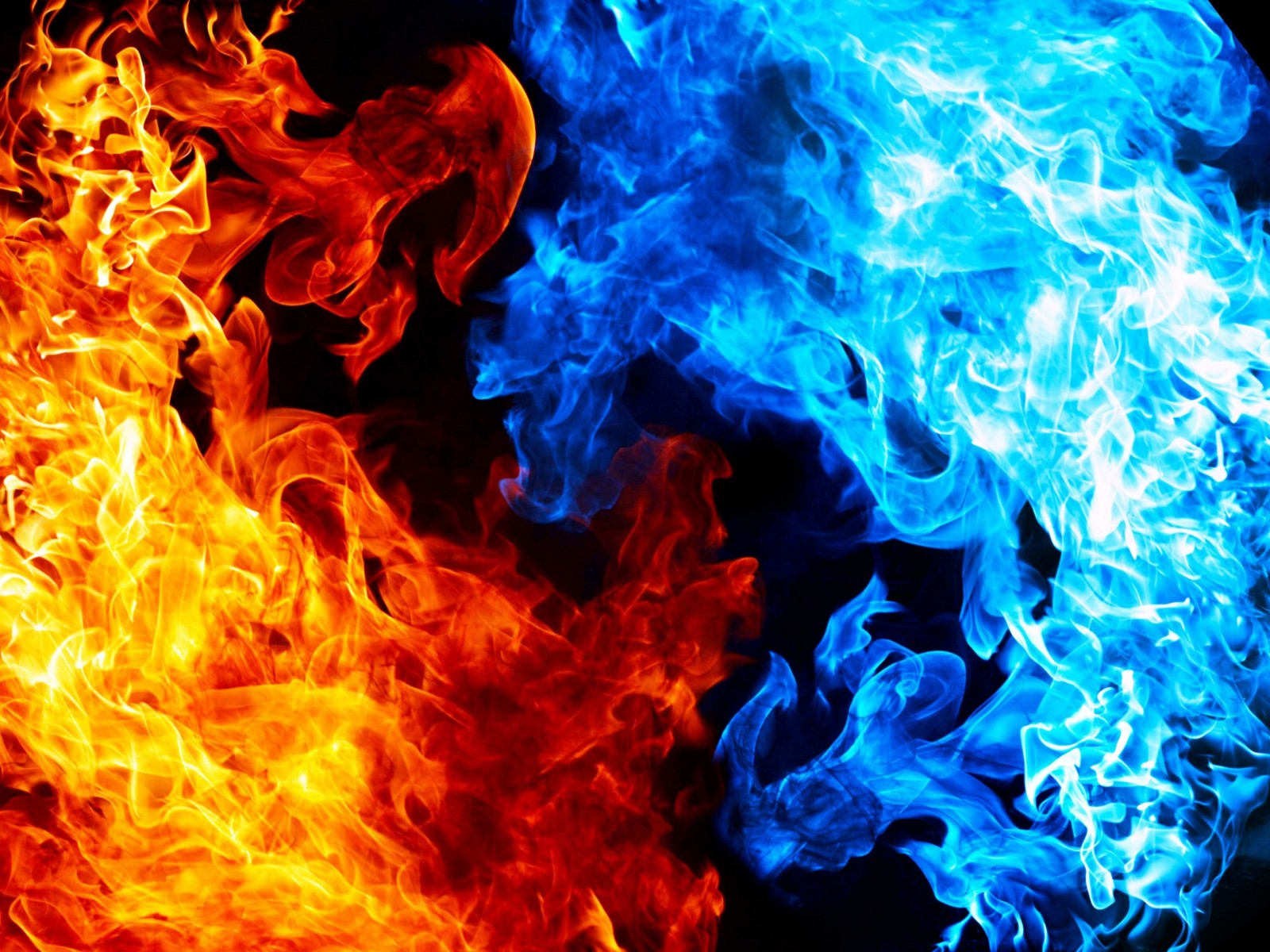 Blue And Red Fire Wallpaper for Desktop 1600x1200