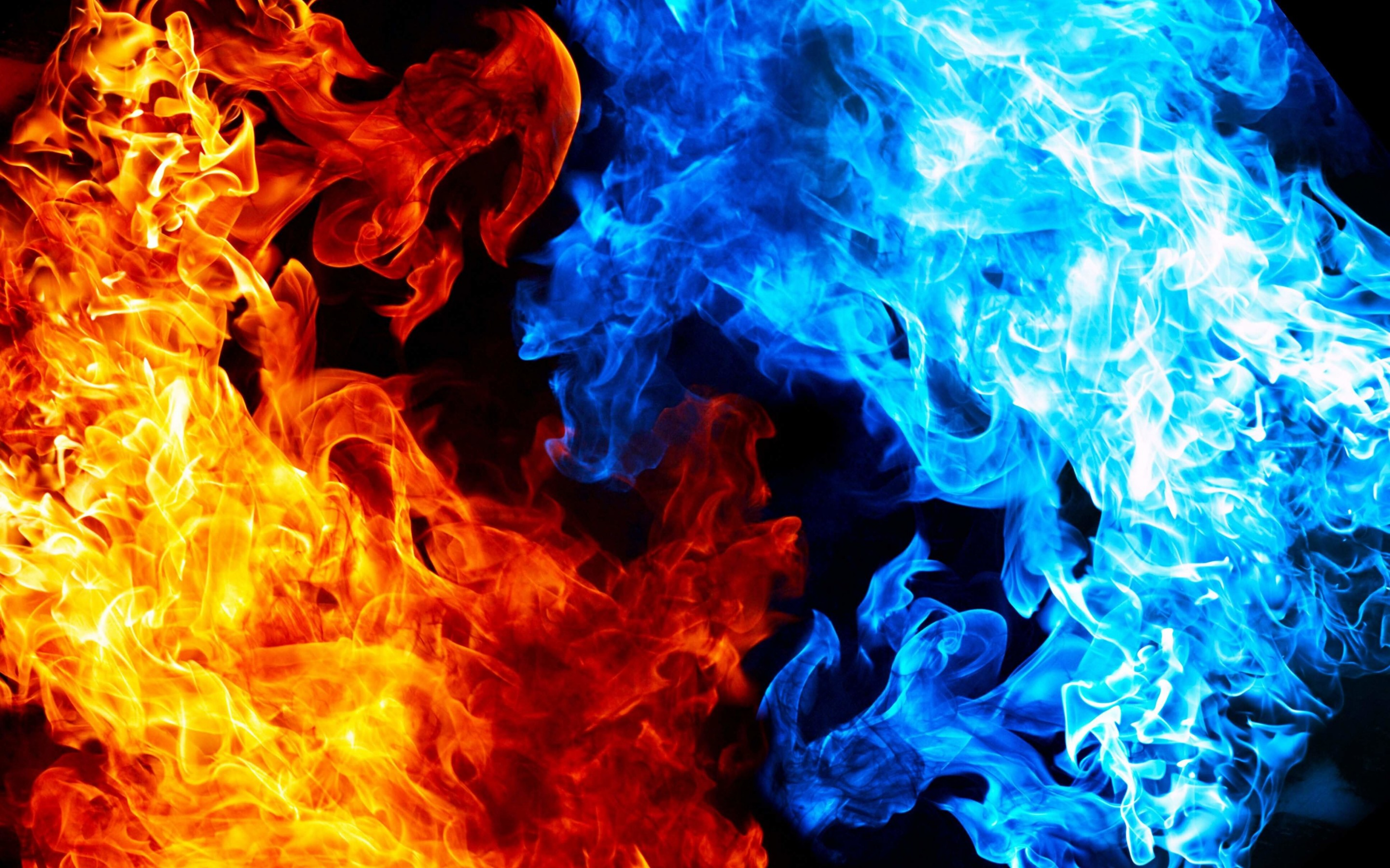 Blue And Red Fire Wallpaper for Desktop 2880x1800