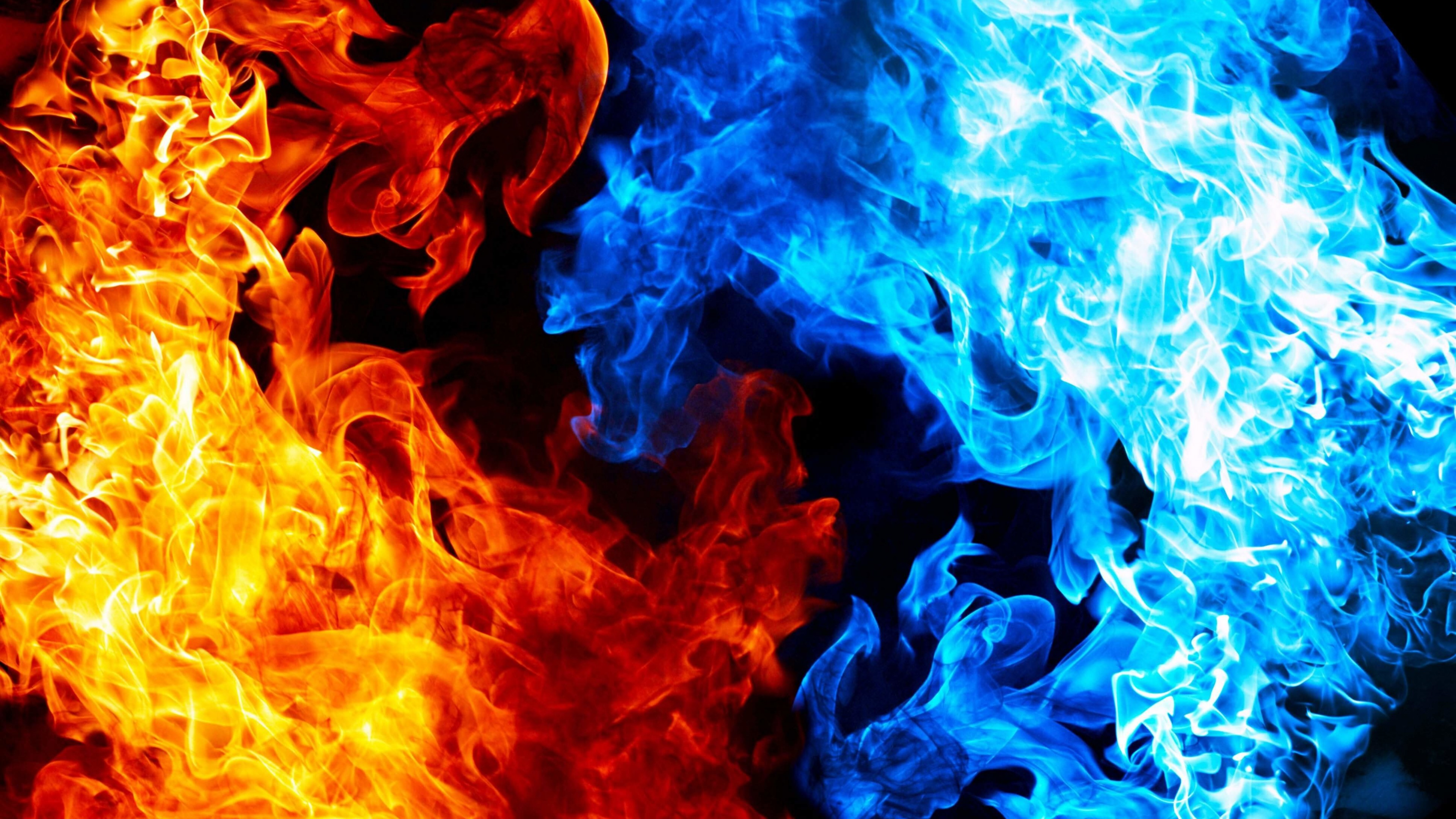 Blue And Red Fire Wallpaper for Desktop 4K 3840x2160