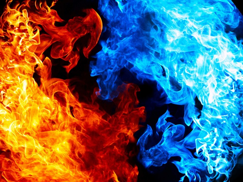 Blue And Red Fire Wallpaper for Desktop 800x600