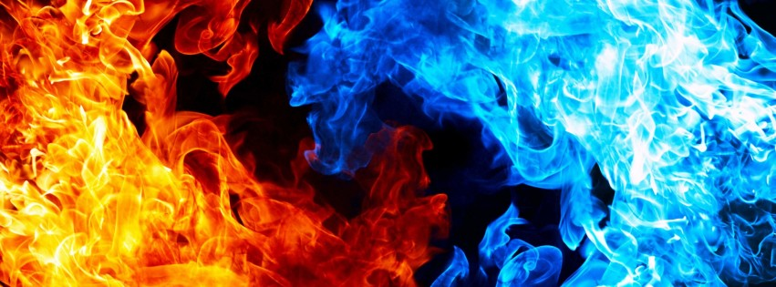 Blue And Red Fire Wallpaper for Social Media Facebook Cover