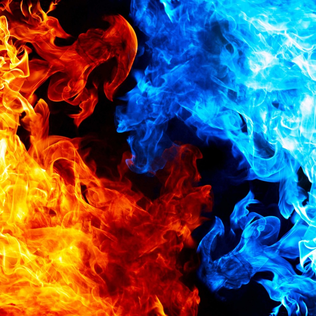 Blue And Red Fire Wallpaper for Apple iPad 2